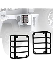 Xprite Black Light Guard Rear Taillights Cover for 2007-2018 Jeep Wrangler JK Unlimited (One Pair)
