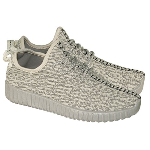 New Ladies Lace Up Fur Lined Winter Warm Casual Ankle Boots High 66-L Trainers (UK 4, Cream Grey)