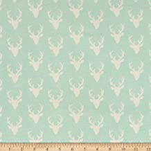 Art Gallery Tiny Buck Forest Jersey Knit Mint Fabric By The Yard