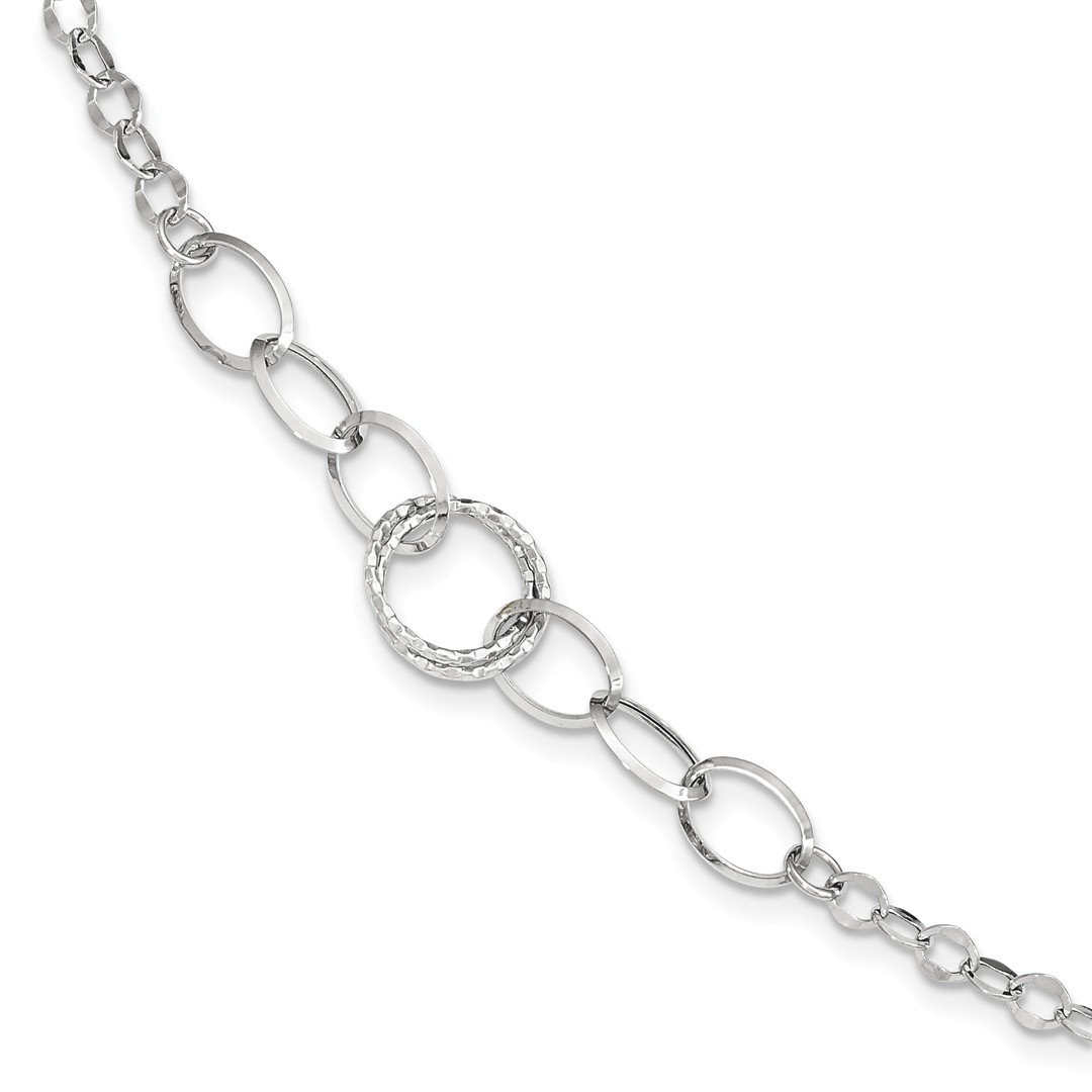 ICE CARATS 14k White Gold Textured Link Bracelet 8 Inch Fine Jewelry Gift Set For Women Heart