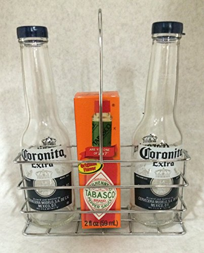 Corona Salt and Pepper Shakers in Chrome Condiment Caddy.