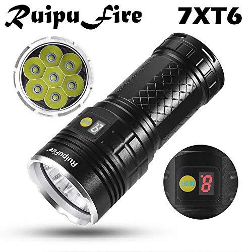 SHUDAGE Emergency Outdoor Flashlights ღRuipuFire 7 x XM-L T6 LED Power Digital Display Hunting Flashligt Black -