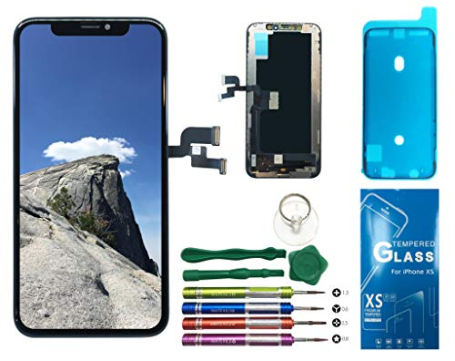 UNUS OLED Digitizer Replacement Kit for iPhone Xs, Comes with Tempered Glass Screen Protector and Free Tool Kits