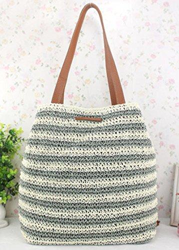 Women Solid Tassel Summer Handbags Pt8 Shoulder Tote Straw Donalworld Beach 5dqxEwCdA