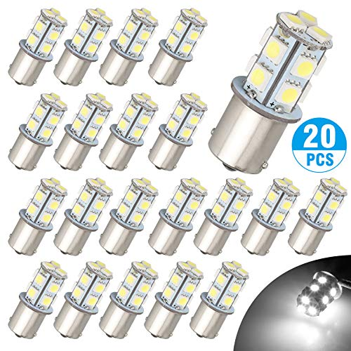 - 20 Pcs LED Bulbs, EEEKit BA15S 1156 Bright 7506 1141 1003 13-SMD-5050 6000K, Pure White Replacement Lamps,for Car Rear Turn Signal Lights Interior RV Camper 12V