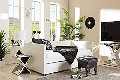 Baxton Studio Frank Modern And Contemporary Faux Leather Button-Tufting Sofa Daybed With Roll-Out Trundle Guest Bed White/Twin/Contemporary