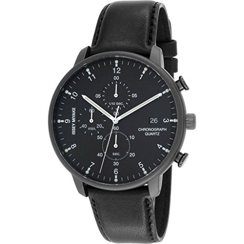 ISSEY MIYAKE Men's 'C' Quartz Stainless Steel and Leather Casual Watch, Color:Black (Model: NYAD007Y)