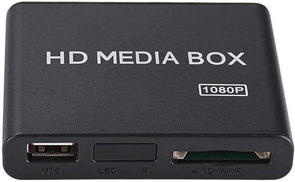 Reproductor de Medios, Mini Caja Full HD 1080P, Reproductor de Medios, Reproductor de Medios Digital Compatible con USB M-MC RMVB MP3 AVI MKV Salida de Sonido Envolvente(EU): Amazon.es: Electrónica