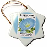 3dRose BLN Vintage Seed Packet Reproductions - Morning Glory Heavenly Blue Prouts Seeds Portage La Prairie - 3 inch Snowflake Porcelain Ornament (orn_170191_1)