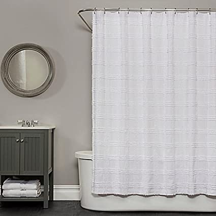 Shower Curtain Crafted Of Sumptuous Cotton Chenille 72 Inch X In White