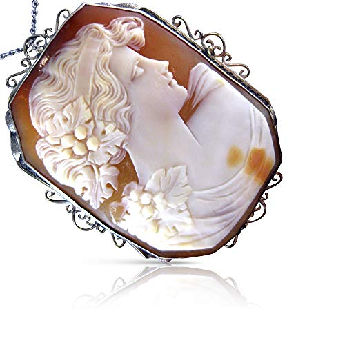 Milano Jewelers Large 14KT White Gold Filigree Lady Shell Cameo Pendant & Brooch #20139