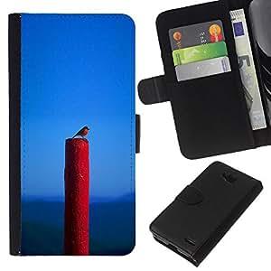 EJOY---La carpeta del tirón la caja de cuero de alta calidad de la PU Caso protector / LG OPTIMUS L90 / --Naturaleza Pájaro Primavera Azul Red Robin