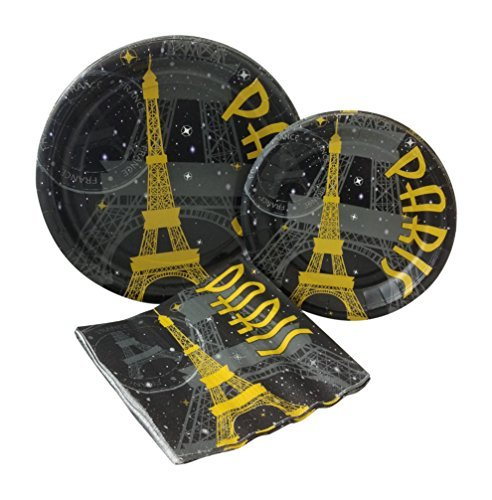 Paris at Night Party Bundle with Paper Plates and Napkins for 8 Guests]()