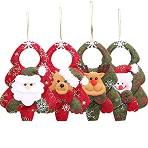 plush hanging christmas ornament sets 3d applique style christmas decorations beautiful detailed designs padded felt door hangers