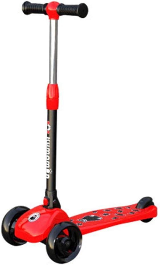 Hkkint 漫画の小さな黄色いアヒルの形のデザインで、子供の三輪スクーターに適して、折りたたみ、持ち運びが容易、ユニセックス、子供のギフト ( Color : 赤 )