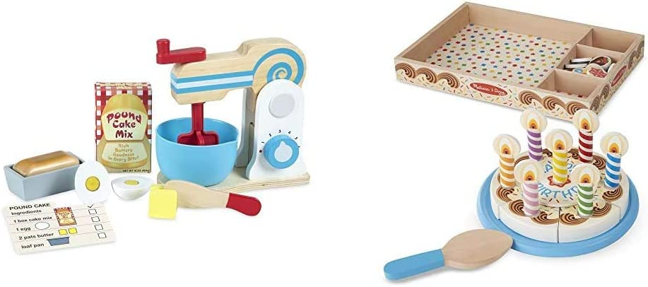 Melissa & Doug Make-A-Cake Mixer Set & Birthday Party Cake (Wooden Play Food, Mix-n-Match Toppings and 7 Candles, Sturdy Construction, 34 Pieces, Great Gift)