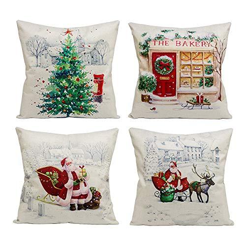 Suptee 4 Pack 18x 18 Christmas Santa Claus Reindeer Christmas Tree Pattern Throw Pillow Covers Cushion Case Hidden Zipper Xmas Holiday, Sofa Car Decorative Pillowcase (Christmas)