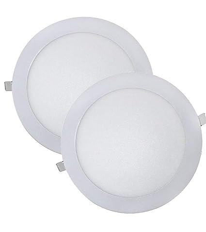 (LA) Pack 2x Downlight LED panel extraplano redondo blanco frío (6500K),