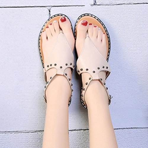 Verano Sandalias De Roma De Estilo OHQ TamañO Mujeres Plano Remache Beige Moda Remache De Sandalias De Sandalias Casual De Gran De Metal Zapatos Mujer Roma De De Las Zapatos wHaSUgqw