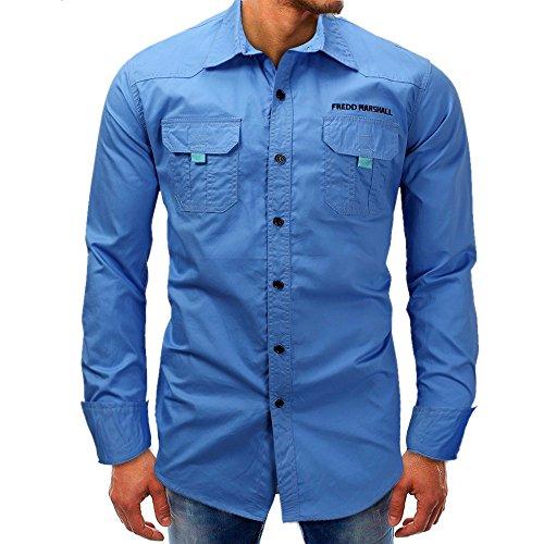 Men shirts Hot WEUIE Men Long-Sleeve Beefy Button Basic Solid Blouse Tee Shirt Top (XL, Blue) by WEUIE