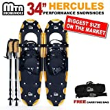 New MTN Extreme Lightweight All Terrian Man Woman Kid Teen Snowshoes up to 255 lbs /Free Bag + Nordic Pole -GOLD (34'' inch)