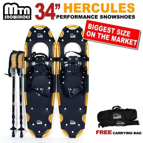 New MTN Extreme Lightweight All Terrian Man Woman Kid Teen Snowshoes up to 255 lbs /Free Bag + Nordic Pole -GOLD (34'' inch) by MTN Snowshoes