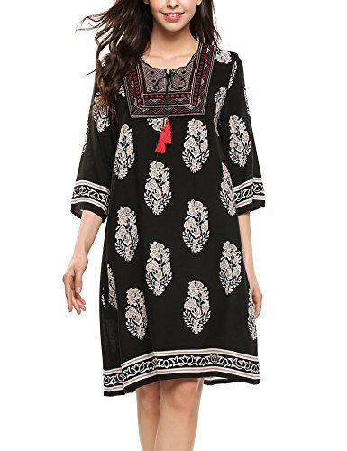 Meaneor donna tunica Bohemian stampa stretch collo Dress V 3/4 maniche con corde Colore 6