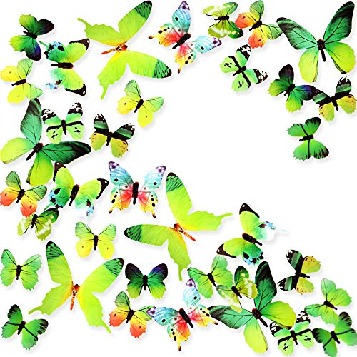 Ewong Butterfly Wall Decals, 36PCS 3D Butterflies Home Decor for Room, Wall Sticker for Girls Room Kids Bedroom Bathroom Baby Nursery Decoration (Green)