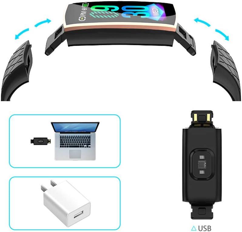 YHDQ Orologio intelligente multifunzione, fitness tracker con cardiofrequenzimetro, schermo a colori 1.14, braccialetto intelligente sveglia, impermeabile Nero