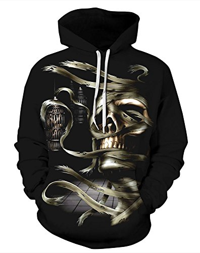 Plus Size Gothic Mummy Costumes (Grace's Secret Unisex Scary Halloween Pocket Hoodie Sweatshirt Couple Pullover Reborn Mummy S/M)