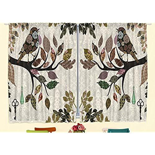 Kitchen Curtains European Home Decor By Ambesonne, Spring Floral Birds  French Vintage Rustic Theme Style, 55 X 39 Inches, 2 Panels Set For Kitchen  Windows ...