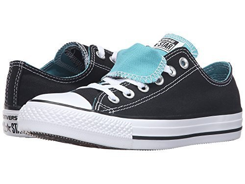Womens Converse Chuck Taylor All Star Double Tongue Ox Black/Aegean (5.5 B(M) (Converse Double Tongue)