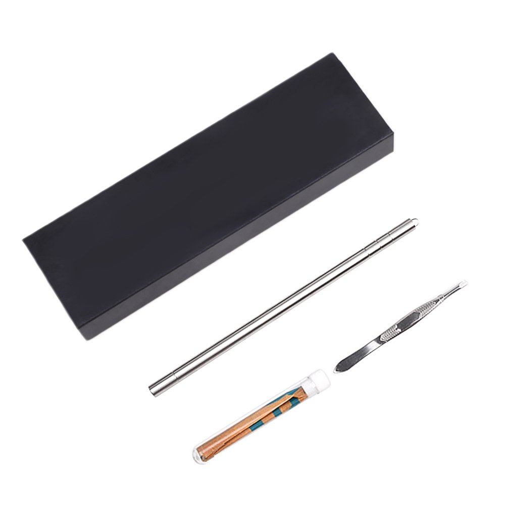 Gosear Salon Engraved Pen Multifunctional Stainless Steel Eyebrow Razor Pen with Tweezers Replacement Blades for DIY Hair Styling Design