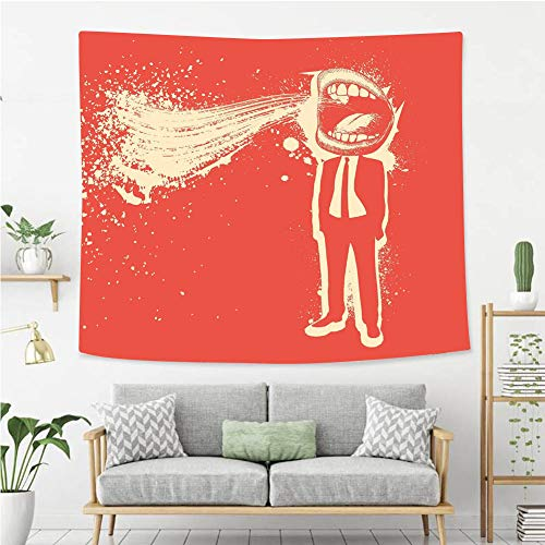 Creative Custom Tapestry Funny Trippy Man Screaming Big Mouth Mad Man in Suits Work Life Boss Quirky Artistic Graphic Wall Art Decoration for Bedroom Living Room Dorm, Window Curtain Picnic Mat