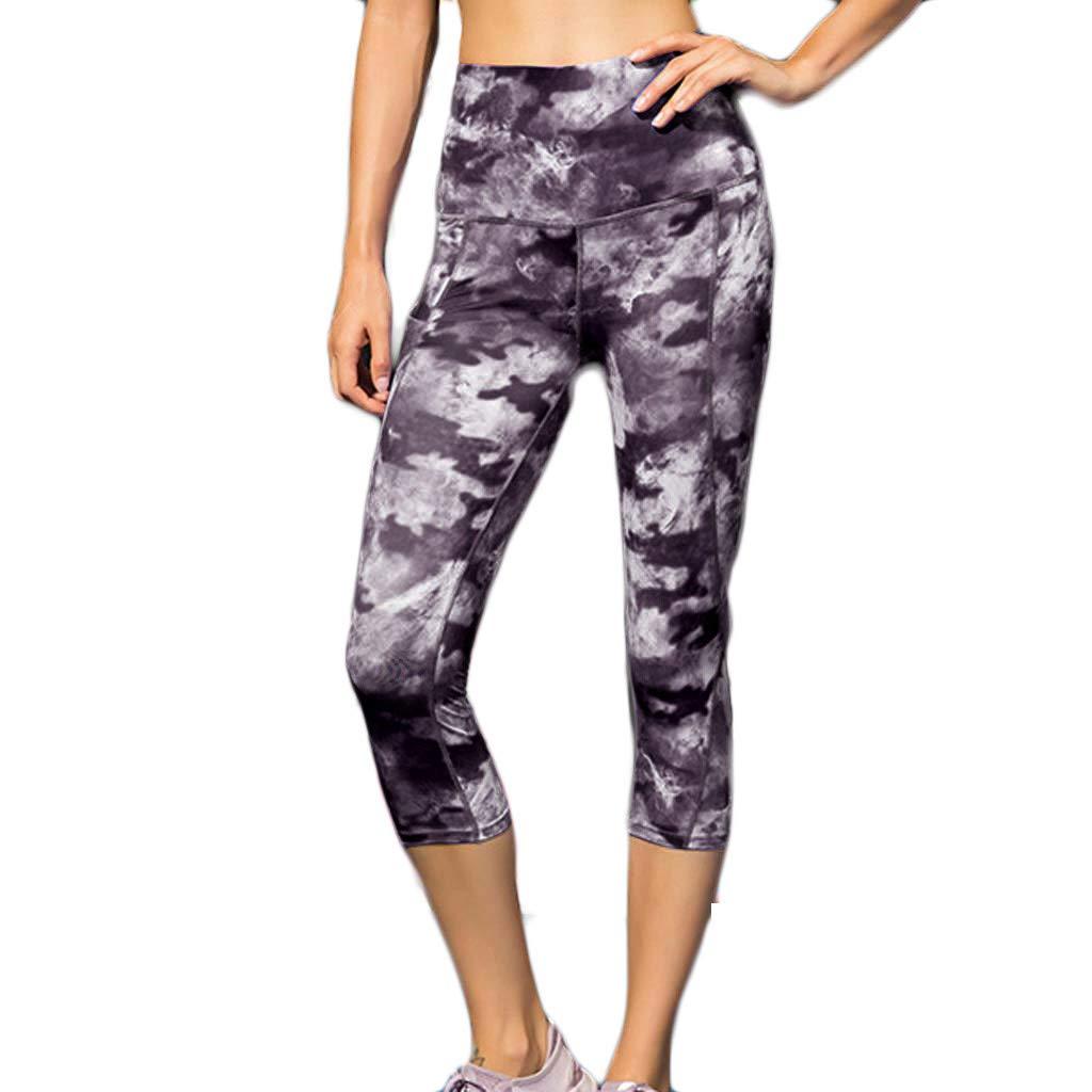 Damen Hohe Taille 3/4 Leggings, LeeMon Ladie's Printed High-Waist-Hose und Fitness-Yogahosen mit schrägen Taschen