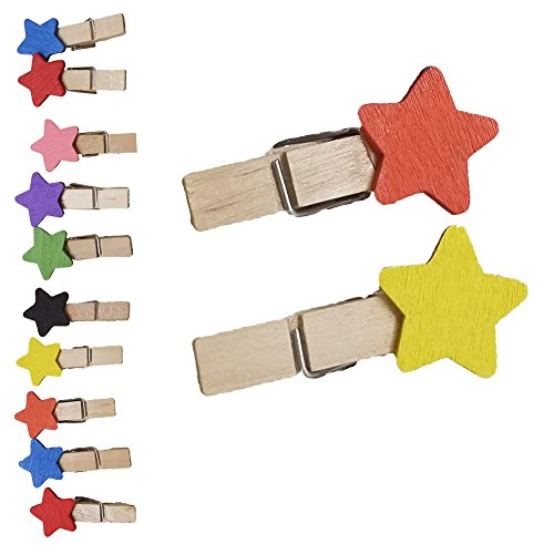 (Decor Hut Photo Holder String with Cloth Pins Clips Set of 12 Cute Design Colored Decorative Photo Keeper Frame By (Stars))