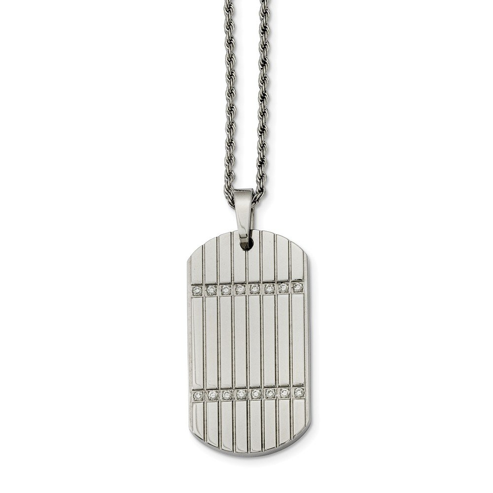 2mm Stainless Steel CZ Cubic Zirconia Dog Tag Pendant Necklace