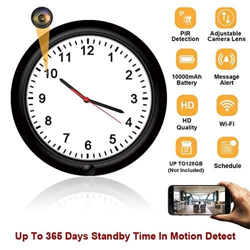 WiFi Wireless Spy Hidden Camera Wall Clock Camera with Adjustable Camera Lens,Motion Detection,365 Days Standby Time, Indoor Nanny Security Camera, Remote Live View Support iOS/Android Covert Wall Clock Camera