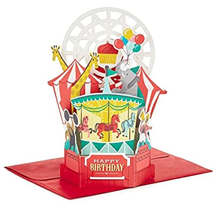 Amazon Hallmark Wonderfolds Musical Light Up Circus Pop Birthday Card Office Products