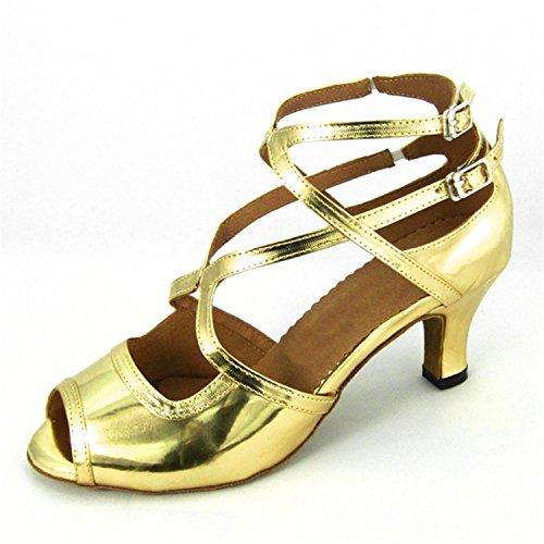 LEIT YFF Gift Women Dance Shoes Ballroom Latin Dance Tango Dancing Shoes 7.5CM,Golden,33