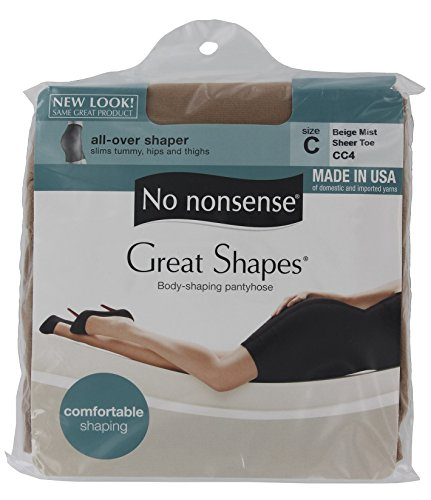 No Nonsense JQ4/CC4 Size C Beige Mist Great Shapes Nylons - Pack of 3 ()