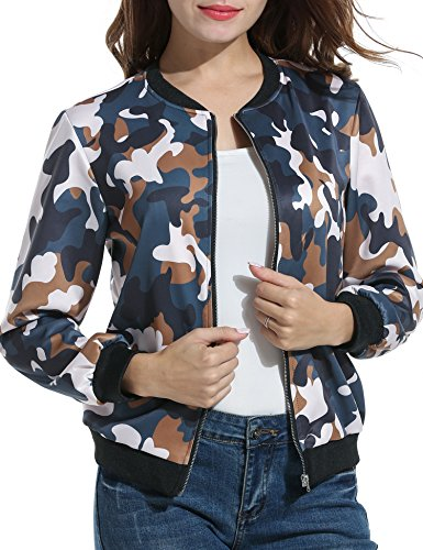 ACEVOG Women's Printed Padded Zipper Biker Bomber Down Jacket Coat (Coffee S) Womens Down Bomber Jacket