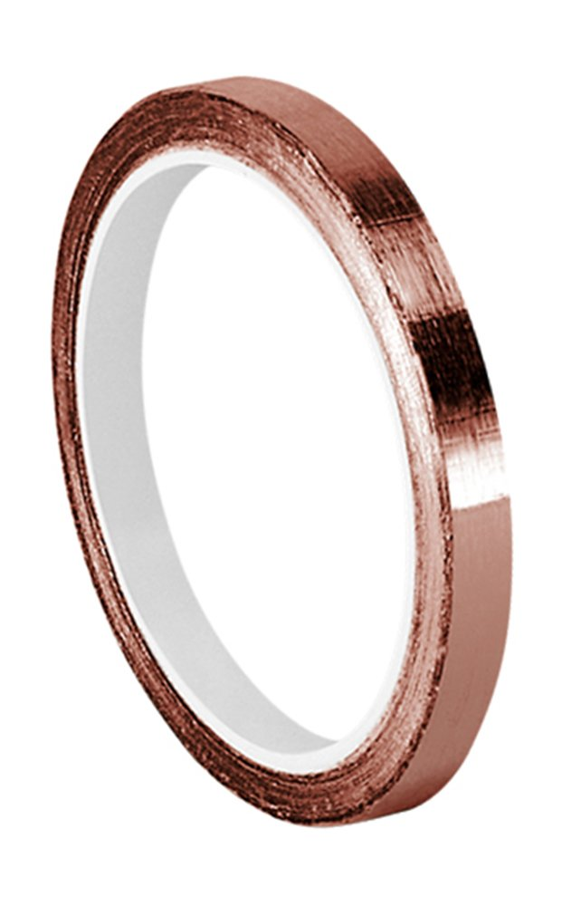 TapeCase 0.125-6-1125 Copper Foil Tape with Acrylic Adhesive, Converted from 3M 1125, 6 yd Length, 0.125' Width, Roll 0.125 Width