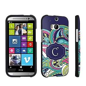 DuroCase ? HTC One M8 Hard Case Black - (Mint Flower Monogram C)