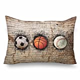 InterestPrint 3D Baseball Ball Soccer Stone Wall Basketball Pillow Cases Pillowcase Standard Size 20x30, Rectangle Pillow Covers Protector for Home Couch Sofa Bedding Decorative