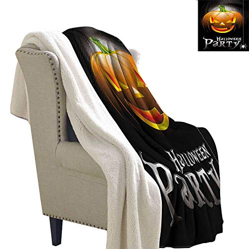 AndyTours Cashmere Velvet Halloween Party Theme Scary Pumpkin Autumn and Winter Thick Blanket W59 x -