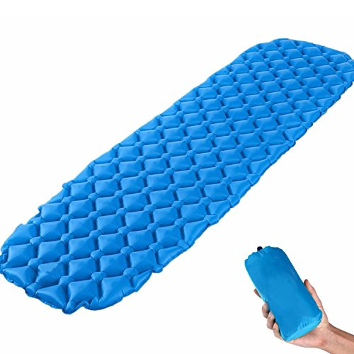 KYQ Ultralight Air Sleeping Pad - Inflatable Camping Mat,Ultra-Compact for Camping, Hiking, Backpacking and Traveling –Comfortable Air Support Cells Design (Blue)