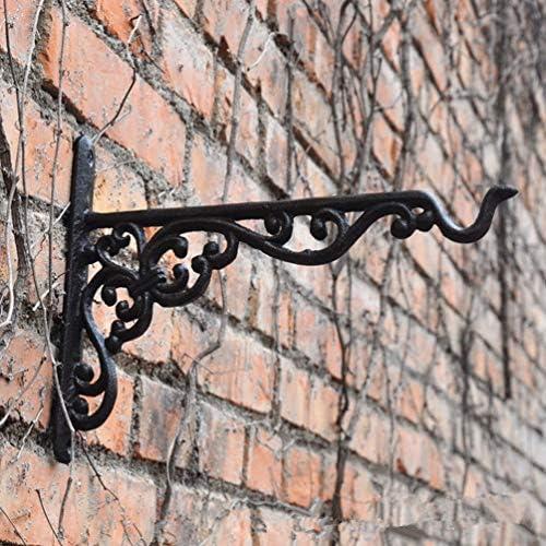 YAeele ヴィンテージフラワーフック フレンチパターンウォールマウント アンティーク鋳鉄フラワーハンギングフック シェルフブラケット-24.5 x18cm A