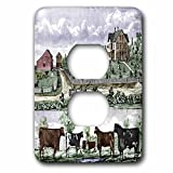 3dRose lsp_55429_6 Painting Of Farm Life In Iowa (Vintage Dated 1875 (Pd-Us) 2 Plug Outlet Cover