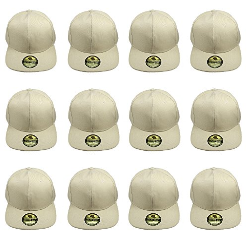 Gelante Plain Blank Flat Brim Adjustable Snapback Baseball Caps Wholesale LOT 20-1500-Khaki-12PC